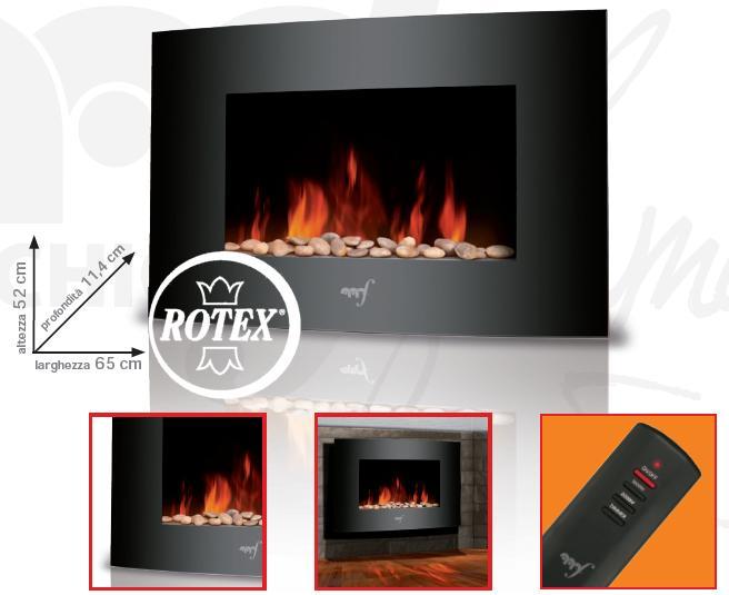 Rotex caminetto melchioni wallflame elettrico parete camino cristallo 1800w new ebay - Camino elettrico da parete ...