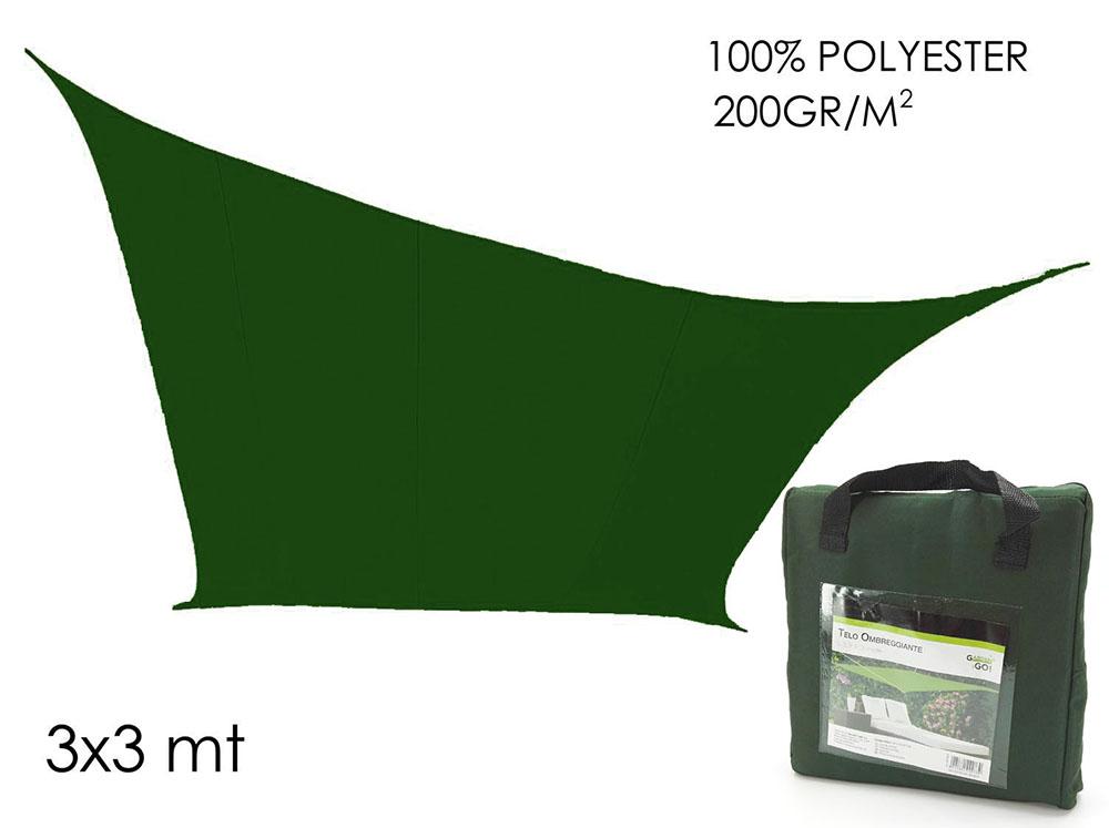 Telo ombreggiante ecru 3 x 3 mt vela parasole quadrato copertura giardino Rotex