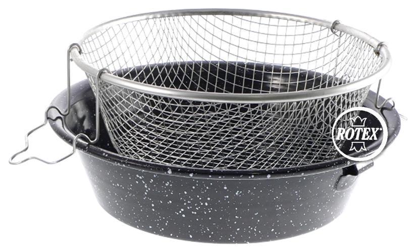 Rotex Friggitrice padella acciaio porcellanata con cestello 24 26 28 30 32